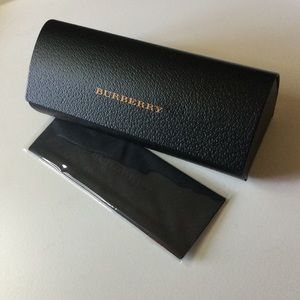 BURBERRY BLACK LEATHER SUNGLASSES EYEGLASSES CASE WITH CLOTH NEW